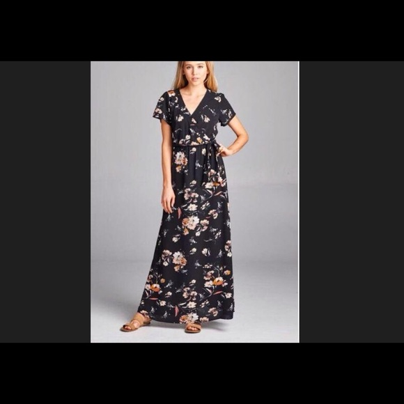 Staccato Dresses Tie Waist Black Cap Sleeve Floral Maxi Dress